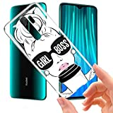 ZhuoFan Funda Xiaomi Redmi Note 8 Pro, Cárcasa Silicona Transparente con Dibujos Diseño Suave TPU Antigolpes de Protector Piel Case Cover Fundas para Movil Xiaomi Red mi Note 8Pro, Girl Boss