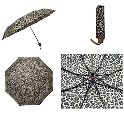 Thomas Calvi Paraguas manual pequeño con estuche, diseño compacto y portátil ligero, perfecto para sombrilla al aire libre, sol, lluvia, viajes y picnic (Estampado de leopardo)