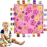 Coperta da dentizione per bambini, panno per dentizione - Tessuto lenitivo Coperta confortante Coperta confortante Coperta di sicurezza coperta - per bebè, bambini piccoli, neonati - Rosa