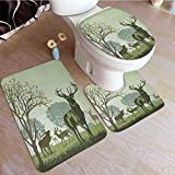 DESPKON Antlers, 3 Pcs Bathroom Mat Set Deer and Wildlife in Park World Natural Heritage Forest Areas Reindeer Nature Scene Commode Contour Rug for Tub Shower & Bath Room, Blue Green