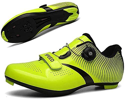 Zapatos de Ciclismo Para Hombres y Mujeres, Zapatos de Bicicleta Atléticos Profesionales con Cierre Automático, Hebilla Giratoria, Tacos Transpirables, Zapatos de Bicicleta de Carretera MTB,Green-45