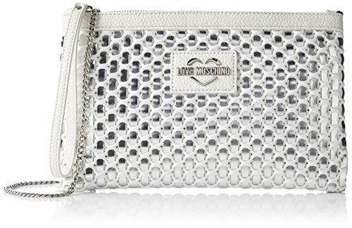 Love Moschino Borsa Intreccio Pu, Bolsa de mensajero para Mujer, Blanco (Bianco), 1x17x26 centimeters (W x H x L)