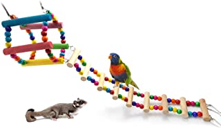 Sanwooden Funny Parrot Hanging Toy Parrot Bird Hamster Toy Colorful Wood Swing Climbing Hanging Ladder Bridge Cage Pet Sup...