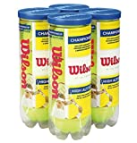 Wilson High Altitude Tennis Balls Championship – 4 Pack, 12 Balls, Yellow, USTA and ITF Approved - Official Ball of The US and Australian Open Grand Slam Championships - Official Ball of NCAA Tennis
