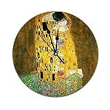 HAYOE 壁掛け 時計 静か 静音 掛け時計 連続 秒針 見やすい 音がしない おしゃれ グスタフ クリムトキス ヴィンテージ アールヌーボー 絵 描くこと 新築祝い 誕生日 開店祝い