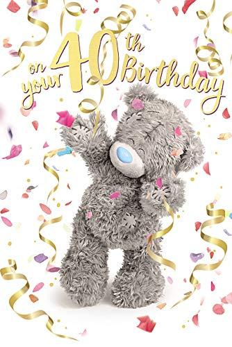 Me To You Geburtstagskarte zum 40. 40. Geburtstag mit Hologrammbär, 3D-Hologrammbär, Teddybär