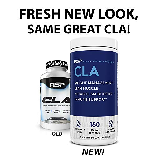 RSP CLA 1000 Conjugated Linoleic Acid Max Strength Softgels, Natural Stimulant Free Weight Loss Supplement, Fat Burner for Men & Women, 180 Ct. (Packaging May Vary) 4