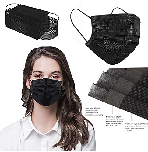 Black Disposable Face Masks for 3-Ply Protection 50 Packs, Safety Masks Black Dust Disposable Masks for Men Women
