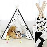 N/Z Equipo de Campamento Princess Girls Teepee White 100% Cotton Canvas Teepee Cotton Kids Play Tent Indian Children Play House Carpa con Ventana para Interior A (Carpa)