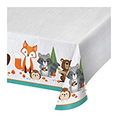 """3 Wild One Woodland Plastic Tablecloths Plastic tablecloth measures 54"""" x 102"""" Plastic tablecloth for easy clean-up Perfect for first birthday parties Coordinates with all Wild One Woodland Animals party supplies"""