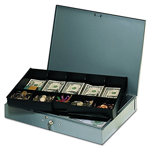 STEELMASTER Low Profile Steel Cash Box with 10 Compartments, Gray (2215CBTGY)