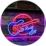 ADV PRO Rock & Roll Electric Guitar Band Room Music Dual Color LED Enseigne Lumineuse Neon Sign Bleu et Rouge 600 x 400mm st6s64-i2303-br