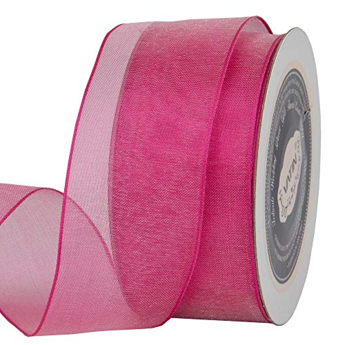 VATIN Christmas Ribbon Sheer Organza Wired Ribbon 1-1/2 inch 25 Yards (75Ft) -Shocking Pink,Perfect for Making Bows and Wreaths