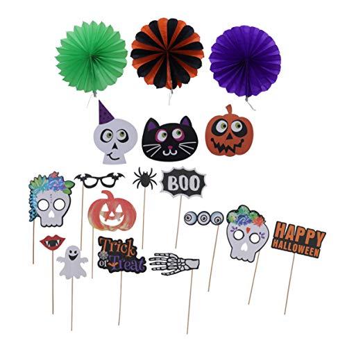 Amosfun 15 stks Halloween Photo Booth Props Hangend Papier Ventilator voor Kinderen Volwassenen Party Decoraties Set
