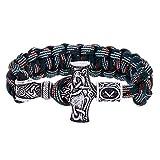 WLXW Nordic Marteau Et Rune de Thor Viking Perle Bracelet, Camouflage Bracelet Main-Wrap, Amulette Religieuse Vintage Rune, Beau Cadeau, 22.5Cm,07