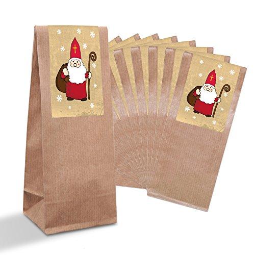 10 bruine kerstpapieren zakjes met pergamijn inzetstuk (7 x 4 x 20,5 cm) en 10 kerststickers