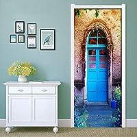 Azbza 子供のドアの壁画3D ヴィンテージの青いドア 90 x 210cm 家の装飾壁アート壁画デカールリビングルーム保育園レストランホテルカフェオフィスの装飾取り外し可能な粘着ステッカーマルチカラー