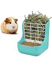 DEDC Alimentador de Heno, Doble Uso para Hierba y Comida, para Animales Pequeños, Conejos, Chinchillas, Cobayas, Cuencos 2 en 1 (Azul)