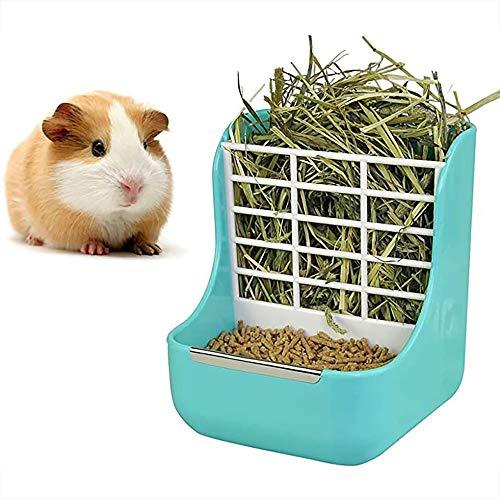 DEDC Heuspender,Futterspender, Meerschweinchen Kaninchen Heu Kiste, Futterspender für Gras und Lebensmittel, Futterungsmanager für Kleintiere (Blau)