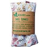 Decolores   Cojín Térmico Semillas con Estampado de Flores y Funda lavable de recambio. Saco de calor y frío Para calentar en microondas.