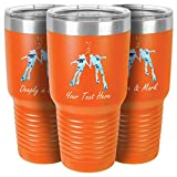 Personalized Scuba Diving Tumbler | Couple Abstract Ocean Scene | Custom Coffee Mug with Name | Gift for Scuba Divers (Orange, 30oz Tumbler)