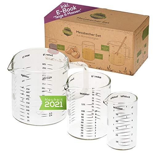TreeBox Messbecher aus Glas mit Ausguss - 3er Set - Hitzebeständig und Mikrowellengeeignet - Verschiedene Maßeinheiten - Perfekt zum Backen, Kochen und Mischen