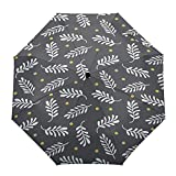 Automatic Open Close Folding Umbrella Gray Pine Branches Windproof Durable Portable Travel Outdoor Polyester Umbrella for Rainy Day