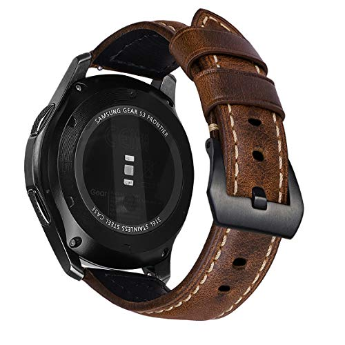 MroTech 22mm Correa Cuero Compatible para Samsung Galaxy Watch 46mm/Gear S3 Frontier/Classic Pulseras de Repuesto para Huawei Watch GT2 /GT Sport/Active/Elegant/Classic Banda Reloj Piel Retro Marrón