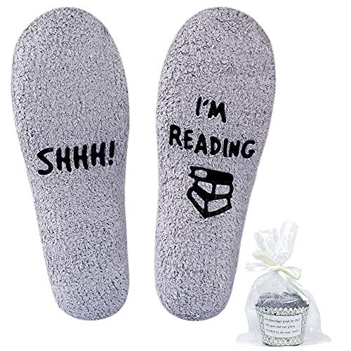 Jeasona Fluffy Slipper Fleece Warm Cosy'Shhh I'm Reading' Socks Women Book...