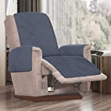 Fundas de silla reclinables impermeables, para sillones reclinables, acolchadas con correa antideslizante, sofá de 1 plaza antideslizante para mascotas (gris)