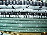 Lottashaus no178 10x Stoff Stoffpaket Mint Grau Weiß