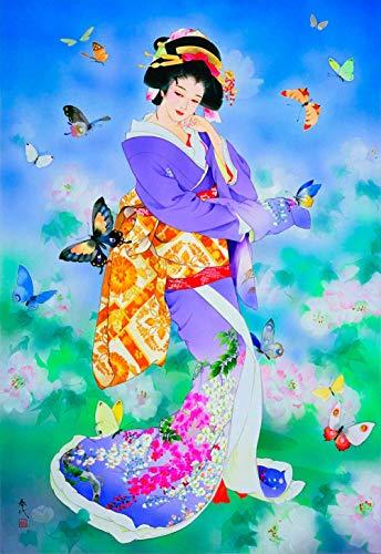 Jinlzs Puzzle De Madera Ensamblado Geisha Japonesa Y Mariposa Regalo De Rompecabezas Para Niños Adultos-1000Pieza,75X50Cm