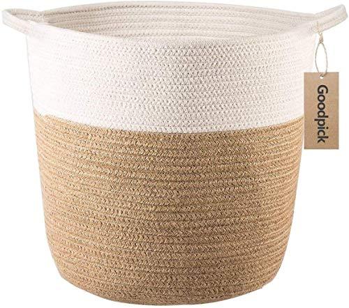 Goodpick - Cesta de almacenamiento de cordón de algodón - Cesta de yute tejida para la colada, con asas. Para juguetes, mantas y cubiertas de maceta, 7,25 x 6,8 x 5,7 cm.