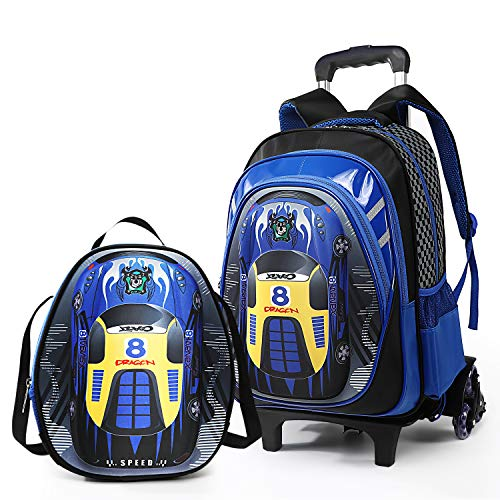 Lyfreen 2Pcs School Bag Kids Rolling Backpack Boys School Backpack Shoulder Bag