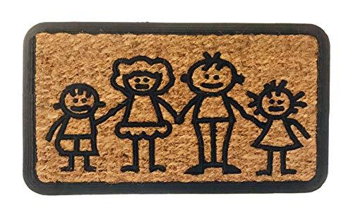 Felpudo Coco Natural Rectangular con Goma Antideslizante (Family)