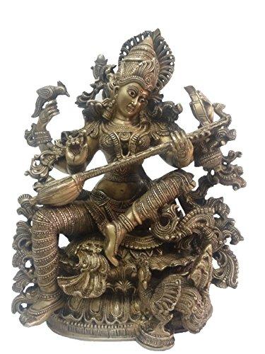 BHARAT HAAT reinem Messing Metall Statue of Sarasvati (Göttin der, Kunst und Wissen) mit Gitarre (Saraswati Vina) in Messing Metall Gute Arbeit bh00012