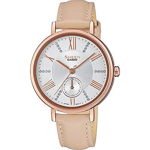 CASIO Damen Analog Quarz Uhr mit Leder Armband SHE-3066PGL-7BUEF