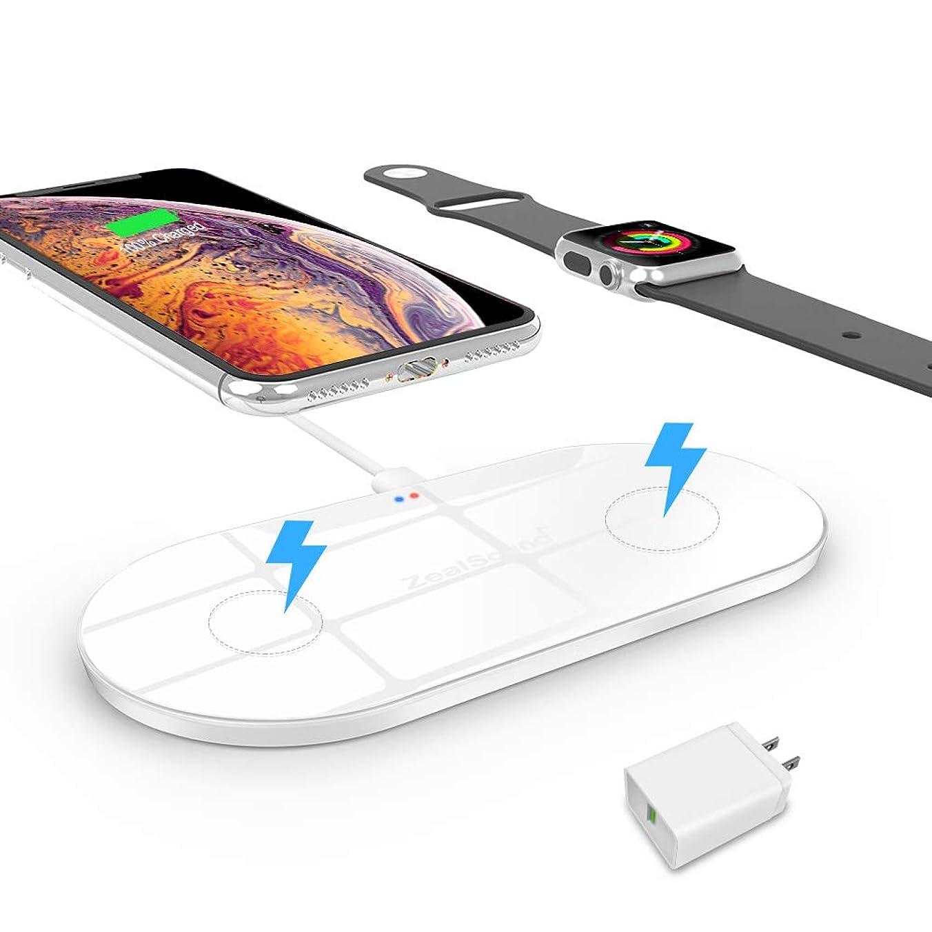創傷アルカイックブラシ急速ワイヤレス充電器【2019年最新改良版?2in1】ZealSound ワイヤレス充電器(10W/7.5W/5W ワイヤレス急速充電器)スマホ?ウォッチ同時充電 ワイヤレスチャー ジャー 置くだけ充電 超薄型 急速充電器 Apple Watch Series 4/3/2/1/Nike+ & iPhone Xs Max/XR/Xs/X/8/8 Plus 同時に充電可 Apple7.5w/Samsung 10W 急速充電 Samsungワイヤレス充電 スタンド Samsung Galaxy S10/S10+/S10E/Note 9/S9/S9+/S8/S7/Note 8/ S7 Edge /XIAOMI
