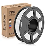 TPU Filament 1.75mm Flexible, 3D Printer Filament Dimensional Accuracy +/- 0.03 mm, 0.5 Kg Spool, White