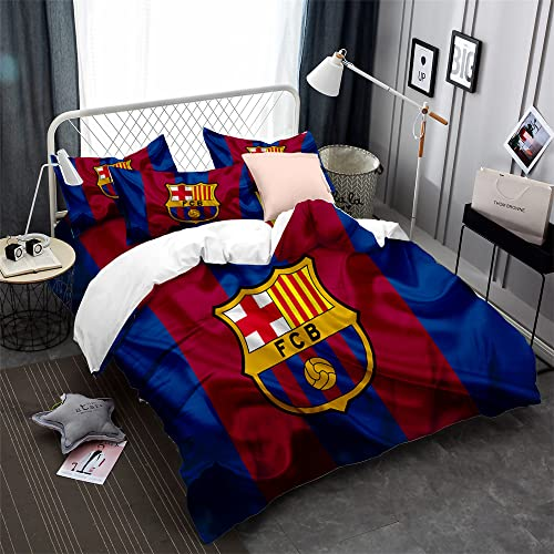 CHAOSE-ESB Equipo De Fútbol FC Barcelona Funda Nórdica Poliéster Ropa De Cama para Niños Funda Nórdica Y Funda De Almohada Algodón De 90 Hilos (patrón 06,(180x220 cm)-Cama de 105/135)
