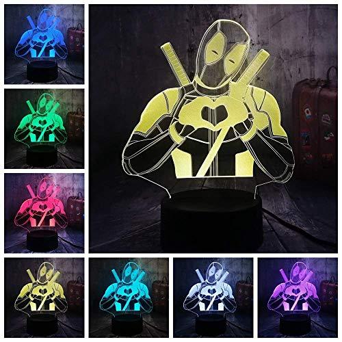 Lámpara de ilusión de luz nocturna Cute Marvel Superhero Love Deadpool 3D Led USB Lámpara de mesa Decoración para el hogar Festival de Navidad Niño Regalos de cumpleaños Juguete para niños