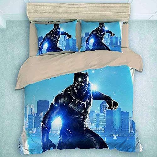 POMJK Black Panther Bed Linen Set Duvet Cover Pillow Case Great Quality Easy Care Bed Linen (Black Panther2, 200 x 200 cm + 50 x 75 cm x 2)