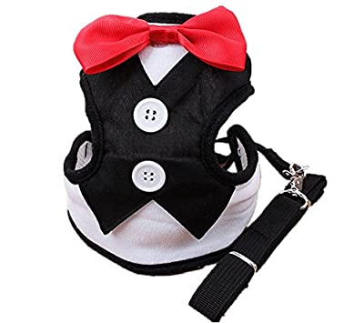 NACOCO Pet Velvet Red Bowtie Gentleman Suit Vest for Dogs with Handle Tuxedo Walk Harness