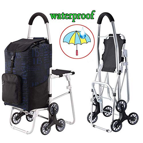 BCX Shopping Trolley Bags Foldable with Seat and 6 Wheels,Large Capacity Stair Climbing Cart Shopping Boot Cart with Lid,Lightweight,Strong Waterproof Cover for Women Men Disabled Old Lady,D,A