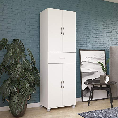 REALROOMS Basin Storage Cabinet with Drawer, Kitchen and Pantry Organizer, White