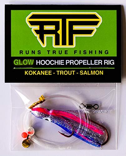 Runs True Fishing RTF Glow Hoochie Kokanee Salmon Trout Propeller Spinner Dodger Rig (2PK - Purpledescent Kit)