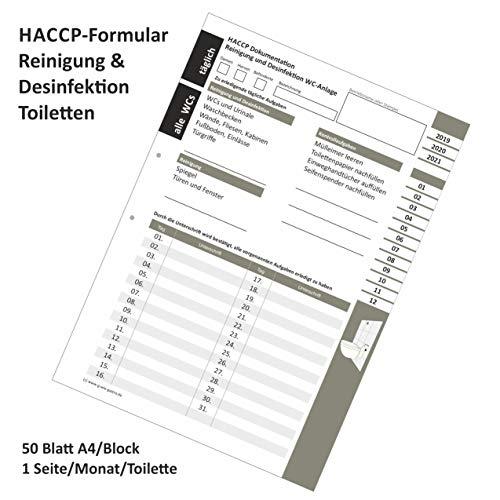 Reinigungsliste WC/Toiletten HACCP Dokumentation Block 50 Blatt