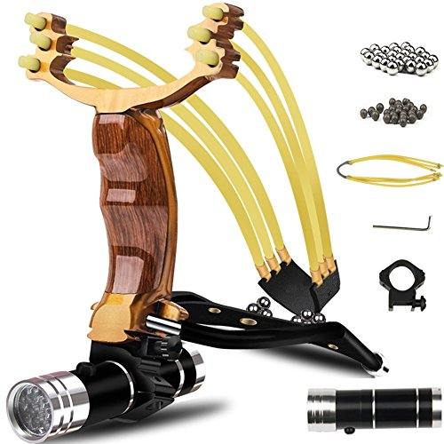 COOY Slingshot,Wrist Sling Rocket Professional Hunting Slingshot with Heavy Duty Launching Bands, High Velocity Catapult
