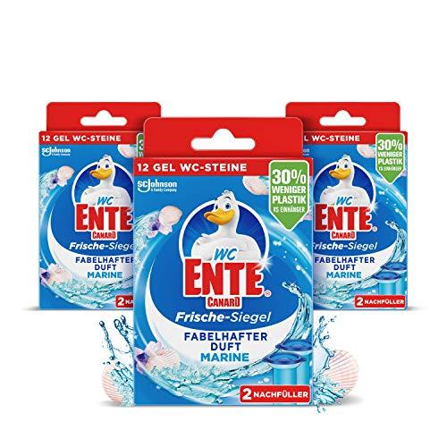 WC-Ente Frische-Siegel Nachfüller, körbchenloser WC-Reiniger, 3 x 12 Gel WC-Steine, Marine Duft, 3er Pack (3 x 72 ml)