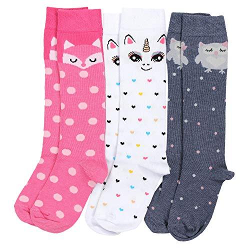 TupTam Mädchen Knielange Socken Gemustert 3er Pack, Farbe: Farbenmix 1, Socken Größe: 23-26